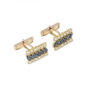 Yellow Gold Diamond And Sapphire Cufflinks